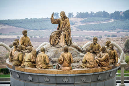 GALILEE, ISRAEL - DECEMBER 3: The statues of Jesus and Twelve Apostles in Domus Galileae on the Mount of Beatitudes near the Sea of Galilee in Galilee, Israel on December 3, 2016