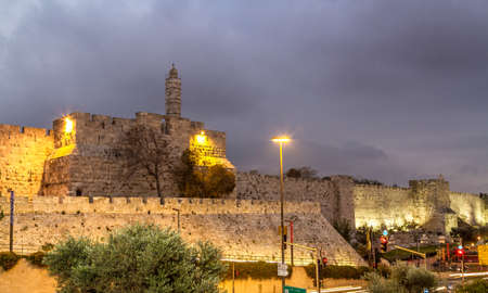View of the Tower of David in the evening, near the Jaffa Gate of the Old City of Jerusalem, Israel Stock Photo