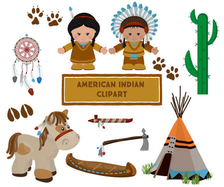 Traditional indian symbols set with cartoon characters of American Indians, man and woman in national dress. Vector illustration Illustration