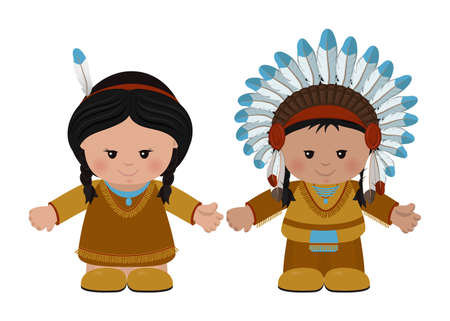 Cartoon characters of American Indians, man and woman in national dress. Vector illustration Illustration