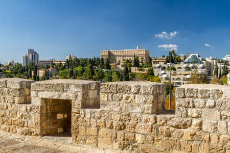 jewish houses: View of Jerusalem, neighborhood Yemin Moshe from the wall of the Old City in Jerusalem, Israel