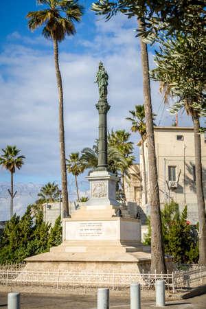 Column of Holy Virgin Mary, Stella Maris Madonna statue, opposite to Stella Maris Monastery in Haifa, Israel. Close-up