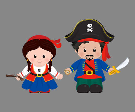 Cartoon characters of Pirates, boy and girl. Vector illustration Illustration