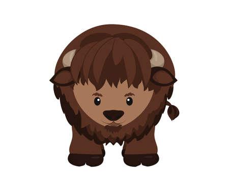 north american: American buffalo, north american wild bison. Vector illustration
