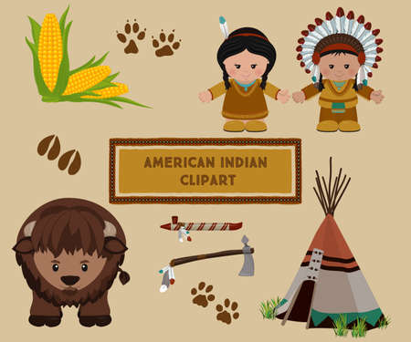 calumet: Traditional indian symbols set, cartoon characters of American Indians, man and woman in national dress and wild buffalo. Vector illustration