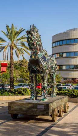 TEL AVIV, ISRAEL - DECEMBER 5: Cyber Horse, sculpture of Trojan horse at Tel Aviv University, Israel on December 5, 2016 Editorial