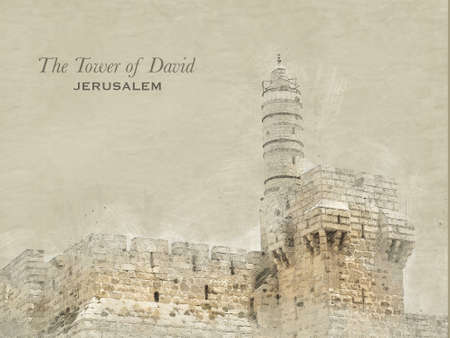 Sketch of Tower of David in retro style, raster illustration, travel greeting card, postcard, poster with cityscapes of Jerusalem, Israel