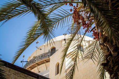 hurva: The Hurva Synagogue in Jewish quarter, Old City of Jerusalem in Israel, bottom view.