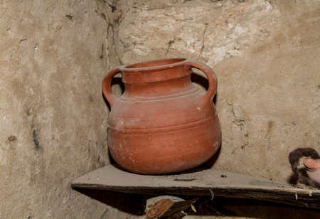 holy jug: The clay jug, old pottery jug, replica of ewer in Nazareth Village, Israel. Ancient Holy Land