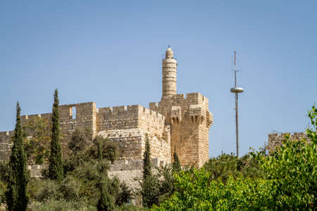 View of the Tower of David, the ancient Jerusalem Citadel, Old City of Jerusalem, Israel