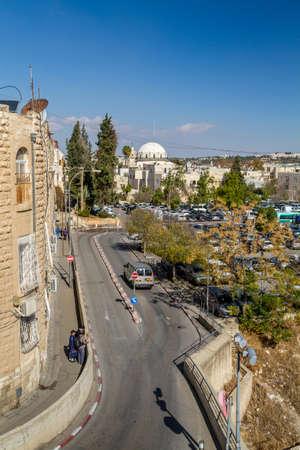 hurva: JERUSALEM, ISRAEL - DECEMBER 8: Cityscape of Jerusalem, view of the Hurva Synagogue from wall of the Old City in Jerusalem, Israel on December 8, 2016