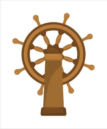 The ships wheel, boats wheel, ship steering wheel, isolated on white background. Illustration