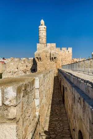 The Tower of David, the ancient Jerusalem Citadel, near the Jaffa Gate in Old City of Jerusalem, Israel