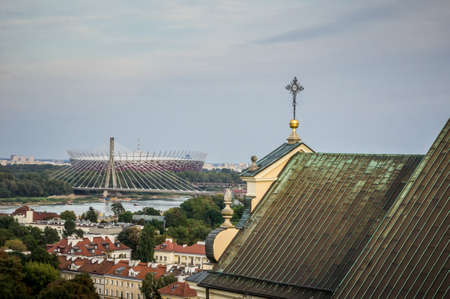 Cityscape of Warsaw in Poland, Swietokrzyski Bridge and National Stadium Editorial
