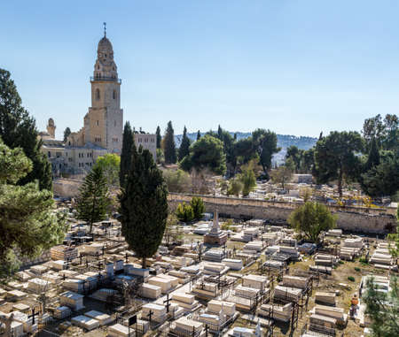 View of the Dormition Abbey and the old cemetery from the wall of the Old City of Jerusalem, Israel Stock Photo