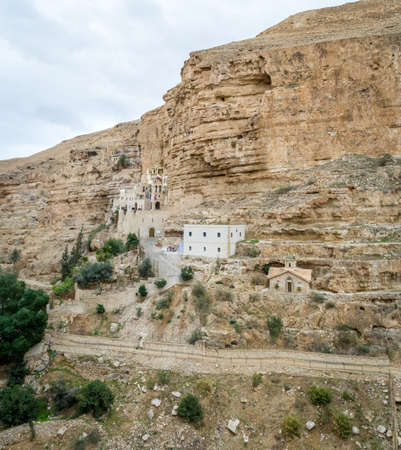 nahal: The Wadi Qelt or Nahal Prat, the Monastery of St. George of Choziba in mountain area, Israel Stock Photo