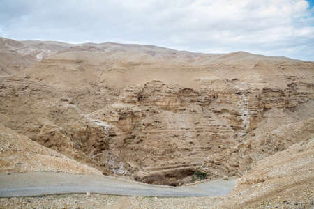 The Wadi Qelt or Nahal Prat, mountain area in the north of the Judean Desert, Israel Stock Photo