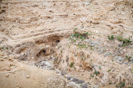 nahal: The Wadi Qelt or Nahal Prat, mountain area in the north of the Judean Desert, Israel Stock Photo