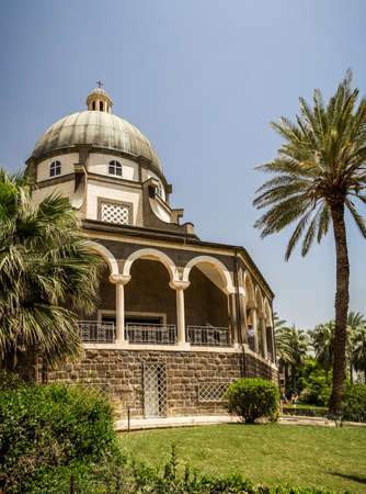 Church of Mount of Beatitudes, Sea of Galilee in Israel Editorial