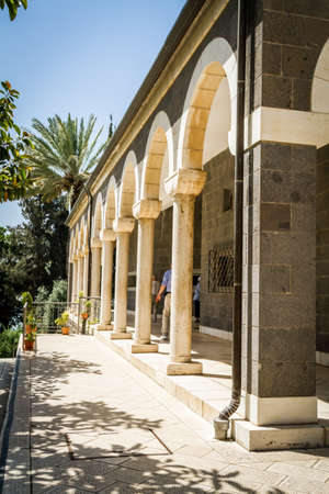 Church of Mount of Beatitudes, marble columned gallery near Sea of Galilee in Israel