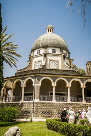 beatitude: SEA OF GALILEE, ISRAEL - MAY 15: Church of Mount of Beatitudes with marble colonnade near Sea of Galilee in Israel on May 15, 2017