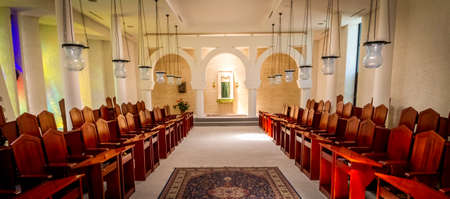 GALILEE, ISRAEL - JUNE 24: Interior of the Sanctuary of the Word in Domus Galilaeae on the Mount of Beatitudes near the Sea of Galilee, Israel on June 24, 2017