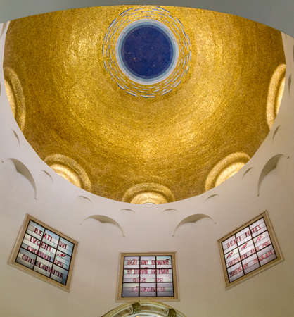 beatitude: SEA OF GALILEE, ISRAEL - MAY 15: The Dome interior of the Church of Mount of Beatitudes near Sea of Galilee in Israel on May 15, 2017