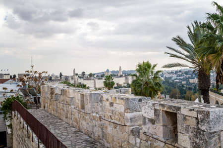 View of Jerusalem from the walls of the Old City of Jerusalem, Israel Stock Photo