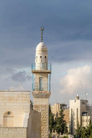 Minaret in Jerusalem, Israel Stock Photo