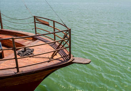 new testament: View of the Sea of Galilee from the deck of wooden boat near the Ginosar, Israel Stock Photo