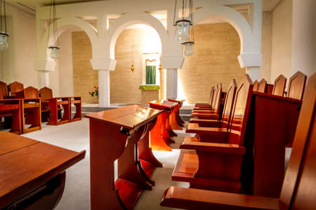 The interior of the Sanctuary of the Word in Domus Galilaeae, Israel