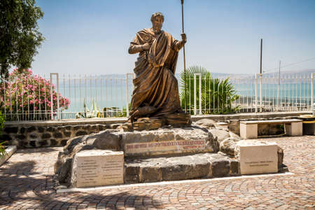 The sculpture of the Apostle Peter in Capernaum, Israel Editorial
