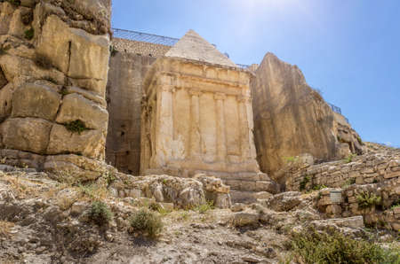 The Tomb of Zechariah in Kidron Valley or Kings Valley near the walls of the Old City of Jerusalem, Israel Stock Photo