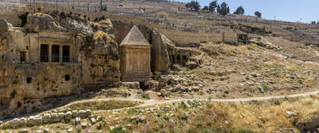 The Bnei Hazir Tomb and the Tomb of Zechariah in Kidron Valley or Kings Valley near the walls of the Old City of Jerusalem, Israel