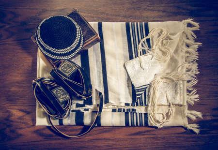 Talit, Kippah, Tefillin and Siddur, jewish ritual objects Editorial