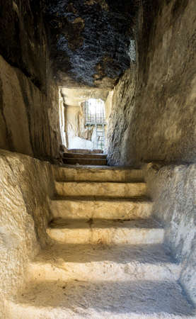 Entrance to the Bnei Hazir Tomb in Jerusalem, Israel Stock Photo