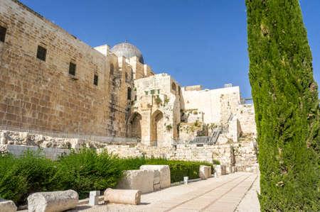 Al-Aqsa Mosque, archaeological park Davidson Center in Jerusalem, Israel Editorial