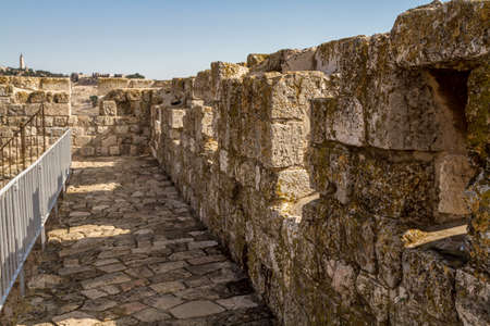 The walls surrounding the Old City of Jerusalem, ramparts walk along the top of the stone walls Imagens