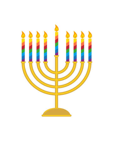 Hanukkah menorah, traditional candle holder with nine candles for jewish holiday of Hanukkah, isolated on white background. Vector illustration