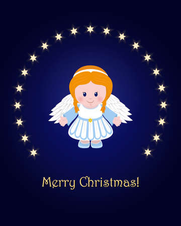 Holiday of Merry Christmas, Greeting card with Angel