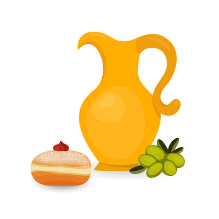 Jewish holiday of Hanukkah, sufganiyah and jug