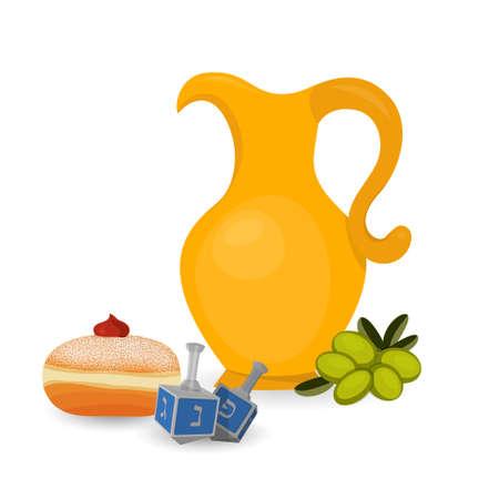 Fête juive de Hanukkah, sufganiyah et cruche Banque d'images - 91080615