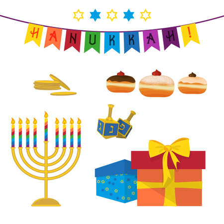 Jewish holiday of Hanukkah, Hanukkah menorah, sufganiyot doughnuts, dreidel spinning top, traditional holiday symbols set isolated on white background Vettoriali