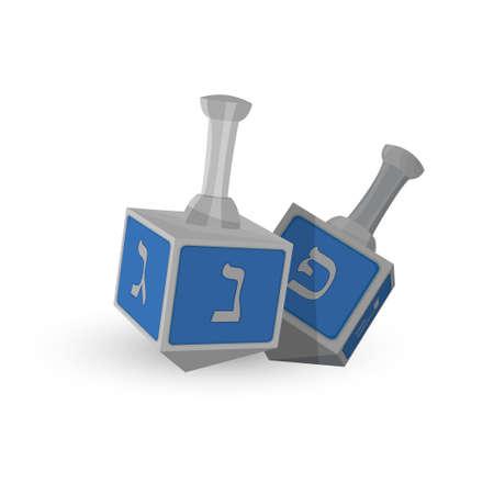 Hanukkah Dreidels, toupie à quatre côtés avec lettre de l'alphabet hébreu, symbole de la fête juive de Hanoukka Banque d'images - 91279649