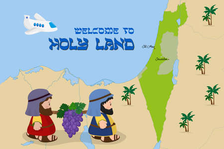 Welcome to Holy Land, map of Israel with cartoon characters of two spies of Israel carrying grapes