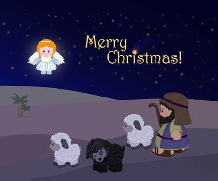 Holiday of Merry Christmas, Nativity scene.
