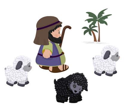 Herder en schapen, symboolset Stockfoto