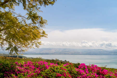 Top view of the sea of Galilee the kinneret lake from the Mount of Beatitudes, Israel