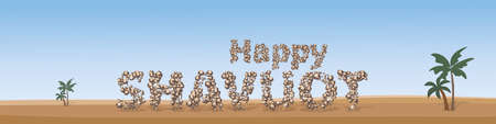 Jewish holiday of Shavuot, banner with inscription of stone on a background of desert landscape and palm trees