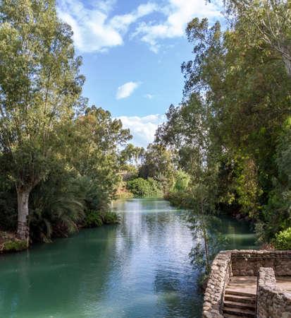 Shores of Jordan River at the Yardenit Baptismal Site, Israel 写真素材